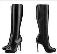 Wholesale Eva Long - 85mm   100mm   120mm Thin Heels Boots Fifi Botta red bottom boots platform pumps black leather woman knee-high boot Winter ladies long boots