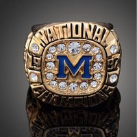 Wholesale Solid White Gold Ring Setting - Free Shipping High Quality Heavy Solid Michigan Wolverines 1997 Rose Bowl Championship Ring Sport Fan Best Gift Men Jewelry Wholesale