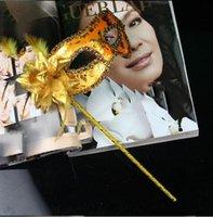 ingrosso le mascherine di mascheratura fanno-Maschera per feste fatta a mano con stecca Matrimonio veneziano Maschera mezza faccia fiore Maschera mascherata di Halloween principessa Festa da ballo Maschera 7 colori