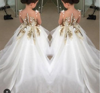 Wholesale Wedding Dresses For Children Cute - 2016 Cute Flower Girls Dresses For Weddings Long Sleeves Gold Sequins Pageant Party Gowns First Communion Dress For Child Teens