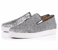 Barato Sapatos Confortáveis ​​únicas Baixas-MBF991A Tamanho 35-47 Homens Mulheres Prata Beads Black Line Low Top Slip On Red Sole Moda Sneakers, Unisex Luxury Brand Comfortable Casual Shoes
