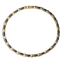 Wholesale Germanium Color - Black &Gold Color Women Men Health Magnetic Necklace Punk ceramics Stainless Steel Power Engery Magnets Germanium necklace Jewelry for Men