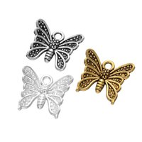 Wholesale Small Vintage Bronze Charms - 2016 DIY Vintage Alloy Zakka Anti Silver Bronze Butterfly Pendant Jewelry Small Charms Bracelets Jewelry Findings accessories