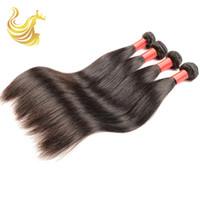 Wholesale Online Human Hair Extensions - Trebellar Human Hair Weaves Unprocessed Vigin Dyeable Brazilian Full Head Hair Extensions Straight Human Hair Bundles with Closure Online
