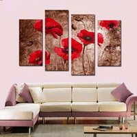 Wholesale Canvas Oil Painting Red Poppy - 4 Picture Combination Red Poppy Flower Art Canvas Prints of Paintings Floral On Canvas Wall Art for Wall Home Decoration