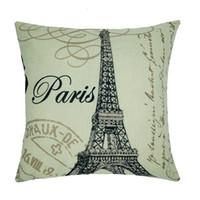 coussins de tour eiffel achat en gros de-Coton Lin Paris Tour Eiffel Timbre Carré Taie D'oreiller Super Doux Coussin Coussin housse home Textile PARIS Café Coussin Par DHL 240626