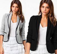 Wholesale Blazer Coats For Women - hot sale Blazer Women Fashion Women's Spring Slim Short Design Turn-down Collar Blazer Grey Short Coat Jackets for women