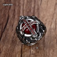 Wholesale Blood Stone Ring - Wholesale- Mens Vintage The End Time Cross Rings With Blood Red Inner Stones Red Zircon Stones Stainless Steel Jewelry Sizes 7-12
