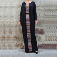 Wholesale Long Style Bohemia Dress - Black Plus Size Maxi Dresses Loose Long Batwing Sleeve O-Neck Bohemia Party Dresses Casual Fashion Women Clothing Brand Style New 2016