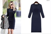 cashmere pencil skirt - Large size women s autumn new round neck knit dress Slim was long sleeved base skirt knitted skirt