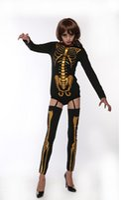 skelettsocken großhandel-Halloween Kleidung Frauen Horrible Gold Skeleton Gedruckt Sets Tops Socken Cosplay Kostüm Kleidung