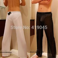 Wholesale Sexy Sheer Mesh Pants - Men's Sexy Mesh Sheer Lounge Pants Sexy Long Pants Black White M L XL Free Shipping