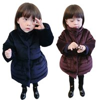 Wholesale Thick Black Girl Clothes - New Girls Winter Dress Kids Knitted Cotton-padded Jacket Coat Dress Bowknot Thick Warm Dress Children Clothing Black Wine Red in stock