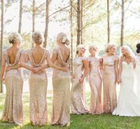 Wholesale Trumpet Wedding Dress Rose Ruffle - Sparkly Rose Gold Cheap Mermaid Bridesmaid Dresses 2016 Short Sleeve Sequins Backless Long Beach Wedding Party Gowns Gold Champagne
