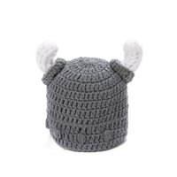 Wholesale Crochet Baby Horns Hat - Autumn Winter kids Crochet Ox horn hats boy girls children's caps made by hand Spring hats for cute baby