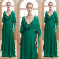 Wholesale Pink Butterflies Pictures - Emerald Green Evening Dress Illusion Neck Edge Deep V Neck Long Formal Dresses Evening Wear Dressess Butterfly Sleeves Chiffon Prom Gowns