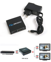 HDMI Splitter 2 Port 1x2 HDMI Switch 1 na 2 Out Switcher Suporte HDTV 1080p com Cabo de energia para áudio e vídeo DVD