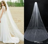 Wholesale Simple Ivory Bridal Veil - 2016 In Stock Simple Bridal Veils Cheap Long Veils Soft Tulle Long Veil Cathedral Veils for Wedding Events Wedding Veil White Ivory
