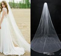 Wholesale Soft White Wedding Veils - 2016 In Stock Simple Bridal Veils Cheap Long Veils Soft Tulle Long Veil Cathedral Veils for Wedding Events Wedding Veil White Ivory