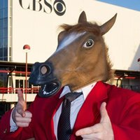 Wholesale Horse Chinese Year - 2017 New Creepy Horse Mask Head Halloween Costume Theater Prop Novelty Latex Rubber Free DHL XL-246