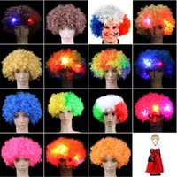 Wholesale Party Supplies Clown - Colorful Clown Cosplay Wavy LED Light Up Flashing Hair Wig Funny Fans Circus Halloween Carnival Glow Party Supplies CCA7533 50pcs