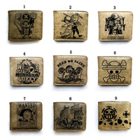 Wholesale Monkey Cards - ONE PIECE Wallet Monkey D Luffy Wallet Ghost Going Merry Chopper Brown Short Purse Anime Carteira PU Wallets