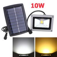 lampes à gazon à projecteurs à énergie solaire achat en gros de-10 W Solaire Alimenté Lampe LED Projecteur Étanche En Plein Air Inondé Lumière Jardin Cour Pelouse Lumière Paysage Spotlight Mur Lampe Décoration Lumière