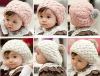 Wholesale Baby Chrismas - Baby Pom Knit hats Girls Boys Beanie Winter Toddler Kids Faux Warm Knitted Caps Knitting Cap 5months-5years Children's Chrismas Hat-J1064