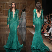 Compra Gli Abiti Di Tony Ward-Tony Ward 2018 Mermaid Abiti da sera Backless Manica lunga Piena di pizzo Applique Perline Tromba Prom Gown Deep V Neck Green Party Dress