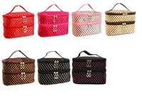 güzel kozmetik çantaları toptan satış-Moda Lady kızın Küçük Noktalar Güzel Multicolors Mix Taşınabilir Yıkama Makyaj Çantası Polyester Çift Katmanlı Kozmetik Çantası ELB029