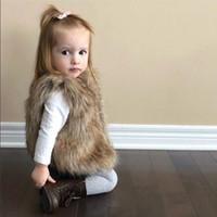 Wholesale Wholesale Luxury Faux Fur - Autumn Winter 2018 Baby Girls Faux Fur Waistcoats Kids Girls Princess Warm Outwear Babies Luxury Jackets Kids Clothing