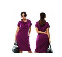 Wholesale Plus Size Bohemian Winter Clothing - fashionable casual women dresses big sizes new 2016 plus size women clothing winter office dress Knee-Length Short sleeve Dress