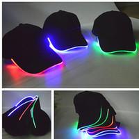 chapeau noir adulte achat en gros de-LED Chapeau lumineux Glow Hat noir tissu pour les casquettes de baseball adultes lumineux 7 couleurs pour la taille de réglage de la taille de la fête de Noël