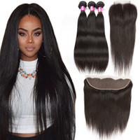 Wholesale Cheap Brazilian Deal - Amazing Cheap Foremost Hair Extensions Malaysian Virgin Hair Bundle Deals Straight Human Hair Lace Closure 3 Bundles with Frontal Closure