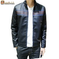 Wholesale Striped Leather Jackets Men - Fall-2016 New Striped Men's Leather Jackets Stand Collar Leather Sleeve Motorcycle Plus Size 3XL Leather Coat Men's PU Jackets