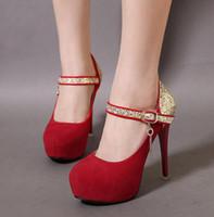 ingrosso pattini di tallone dentellare del bambino-Baby Pink scarpe tacchi da sposa tacchi rossi poco costoso della punta di pigolio alta piattaforma tacchi a spillo Scarpe 4 colori