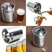 Wholesale NEW Stainless Steel L Flagon Hip Flasks Mini Beer Bottle Barrels Beer Keg Screw Cap Beer Growler Homebrew Wine Pot Barware Party WX C07