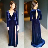velvet images Australia - Deep V Neck Long Sleeve Evening Gown Hollow Back Velvet Sweep Train Dresses Evening Wear Elegant Formal Prom Dress Party Navy Blue Holiday