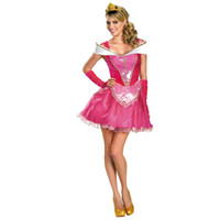 Wholesale Sleep Dresses For Women - Adult Sleeping Beauty Costume Sexy Princess Aurora Cosplay Halloween Costumes for Women Pink Mini Dress Party Costume Wholesale