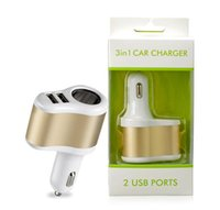 Wholesale Dual Car Port - Dual USB Port Car Charger Adapter Universal Metal Alloy 2 Port 3.1A Auto Power Adapter with retail package for iphone 5 6 Samsung Note 4