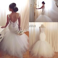 Wholesale Modern Goddess - Glamorous Mermaid Goddess Lace Wedding Dresses 2016 Sweetheart Vintage Lace Sexy Backless Tiered Tulle Summer Bridal Gowns Arabic BA2423