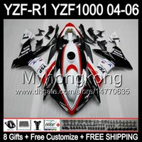 Wholesale Yamaha R1 Red White - 8Gifts+ Body For YAMAHA YZF-R1 04-06 YZF R1 New red white MY46 YZF1000 YZFR1 04 05 06 YZF 1000 YZF R 1 Red black 2004 2005 2006 Fairing Kit