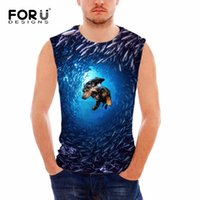 Wholesale Dog Clothes Tank Top - Wholesale- FORUDESIGNS Cotton O-Neck Tank Tops Summer Male Sleeveless 3D Kawaii Dog Printing Clothes O-neck Man Blue Vests Plus Size S-XXL