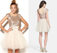 Wholesale white red roses prom resale online - Cheap Homecoming Dresses Short Rose Gold Sequins Tulle Sweet Juniors Prom Dress Party Gowns Semi Formal Plus Size Tutu Skirt
