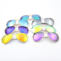 Wholesale cheap gift wrapping - Cheap Branded 58mm Metal Frame Men's   Women's Sunglasses Colorful Flash Lens Sun Glass as a gift