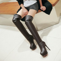 Wholesale Knee High White Boots Cheap - Free Shipping 2016 Fashion Womens Thigh Over Knee High Winter Boots thick Platform legging sexel Ladies long Cheap stiletto boots 701