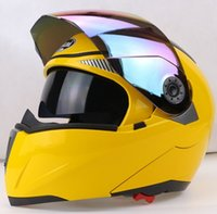 Wholesale Red Flip Up Helmet - News Safe Flip Up Motorcycle Helmet With Inner Sun Visor Everybody Affordable Double Lens Motorbike Helmet hot sale