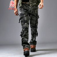 Wholesale Army Cargos - Wholesale-2016 Army Militar Men's Trousers and Camo Pants with Side Pockets Combat Camouflage Overalls Fashion Baggy Cargo Pants for Men