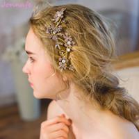 sombreros de boda de la vendimia al por mayor-Beijia Vintage Rhinestone Flora Vine pelo peine de la boda de oro diadema nupcial pelo joyería de las mujeres accesorios Headwear