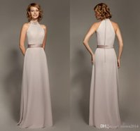 Wholesale Blue Brown Ribbon - Simple Halter Satin Chiffon Sheath Bridesmaid Dresses Cheap Sleeveless Backless Floor-length 2017 Formal Dresses Covered Buttons